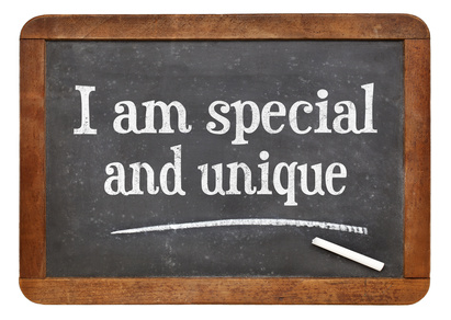 I am special and unique - positive affirmation words on a vintage slate blackboard